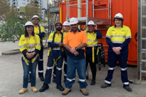 troup of transition to work young adults in high vis at training course