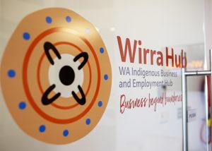 wirra hub logo on the front office door
